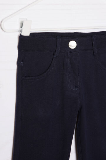 Pantaloni in cotone stretch, Blu navy, hi-res