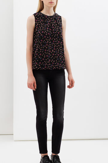 Sleeveless floral blouse, Black, hi-res