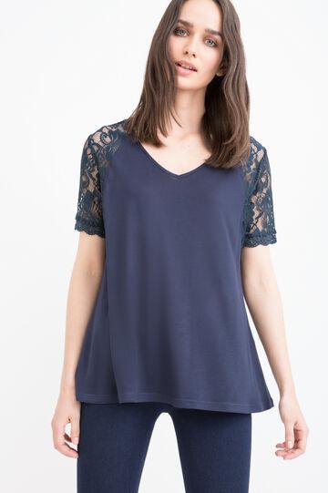 Solid colour 100% viscose T-shirt., Navy Blue, hi-res