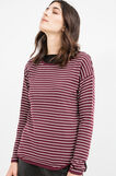 Knitted striped cotton blend pullover, Aubergine, hi-res