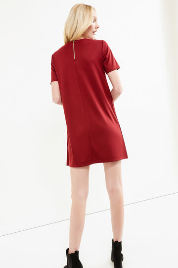 Short-sleeved suede-effect dress, Red, hi-res