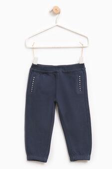 Pantaloni tuta strass bordo tasche, Blu navy, hi-res