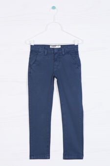 Pantaloni chino cotone stretch, Blu navy, hi-res