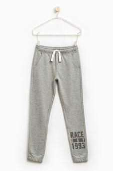 Pantaloni tuta cotone tinta unita, Grigio melange, hi-res