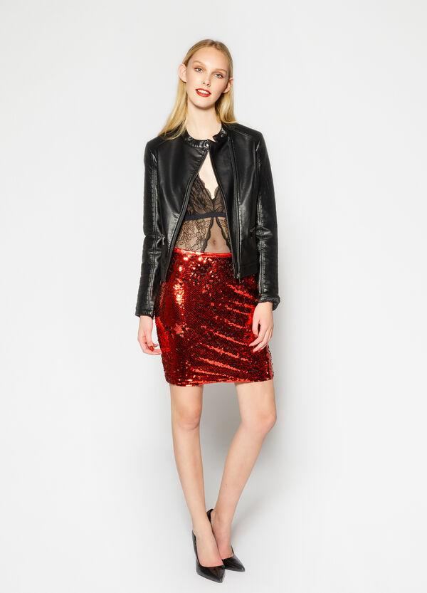 Leather look jacket with mandarin collar | OVS