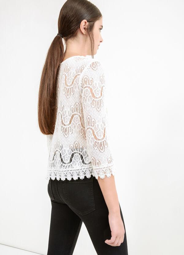 Cotton blend openwork lace blouse | OVS