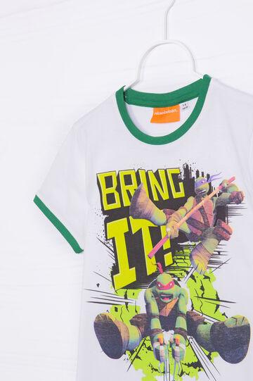T-shirt puro cotone stampa Ninja Turtles, Bianco, hi-res