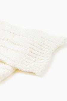 Sciarpa tricot con costina, Bianco, hi-res