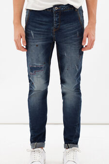 Jeans stretch effetto macchie, Denim, hi-res