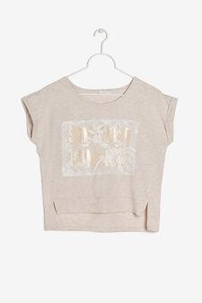 T-shirt smanicata con stampa, Ecrù, hi-res