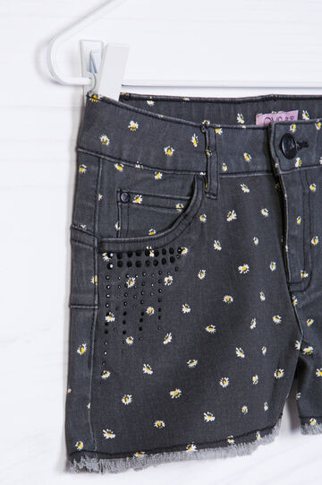 Printed stretch denim shorts., Black, hi-res