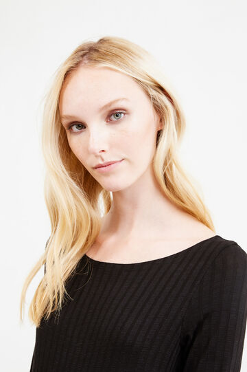 Solid colour stretch viscose blend bodysuit, Black, hi-res