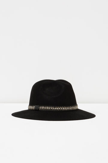 Hat with bead and diamanté band, Black, hi-res