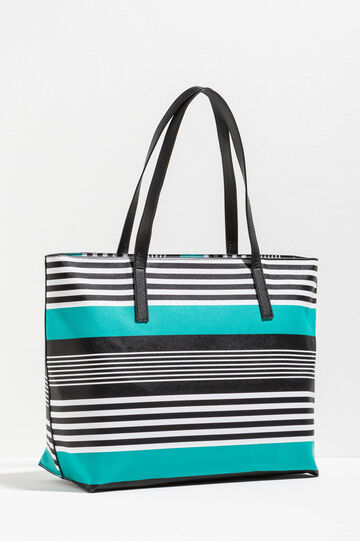Shopping bag with striped pattern, Aqua Blue, hi-res