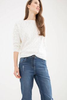 Slim-fit, worn-effect, stretch jeans, Blue, hi-res