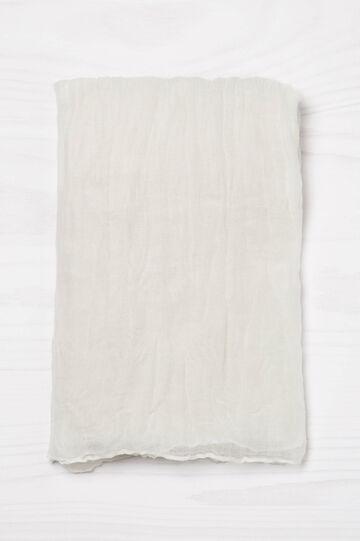 Sciarpa effetto stropicciato tinta unita, Bianco panna, hi-res