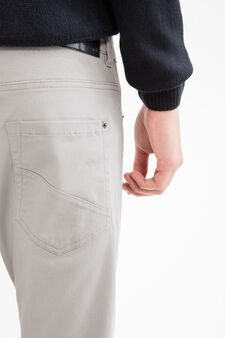 Solid colour stretch cotton trousers, Light Grey, hi-res