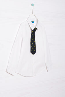 Shirt in 100% cotton with tie, White, hi-res