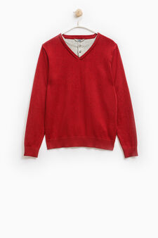 Faux layered pullover in 100% cotton, Red, hi-res