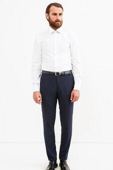 Elegant, custom-fit viscose trousers, Dark Blue, hi-res