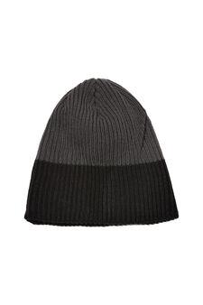 Knitted beanie cap, Black/Grey, hi-res