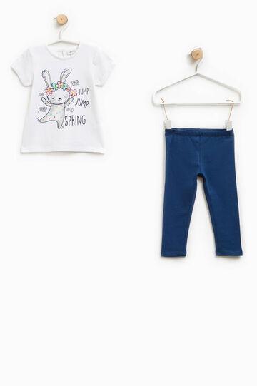 Completo t-shirt e pantaloni glitter, Bianco/Blu, hi-res