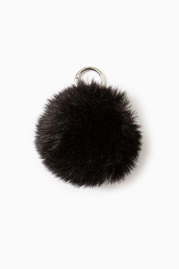 Fur pompom keyring, Black, hi-res