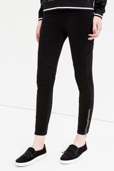 Stretch cotton jeggings with zip, Black, hi-res