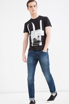 Printed T-shirt in 100% cotton, Black, hi-res
