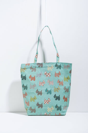 Patterned shopping bag, Green/Blue, hi-res