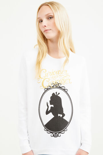 Alice in Wonderland print sweatshirt, White, hi-res