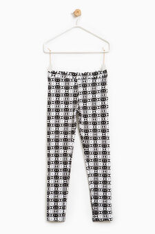 Patterned leggings in stretch cotton, White/Black, hi-res