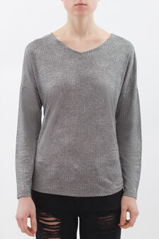 Studded T-shirt in viscose blend, Light Grey, hi-res