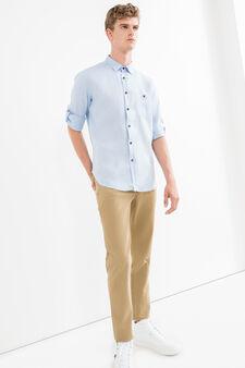 Camicia casual tinta unita puro lino, Blu chiaro, hi-res