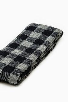Stretch cotton check-patterned long socks, Dark Blue, hi-res