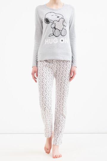 100% cotton pyjamas with Snoopy print, Grey Marl, hi-res