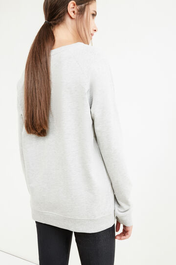 Cotton blend printed sweatshirt, Grey Marl, hi-res