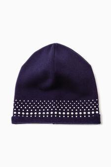 Diamanté beanie cap, Blue, hi-res