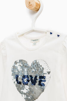 Stretch cotton T-shirt with long sleeves, Cream White, hi-res