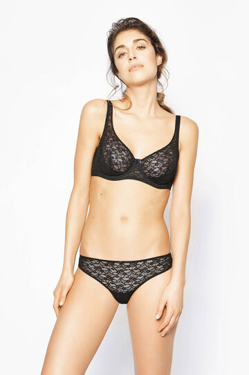 Brazilian-cut briefs with lace and bow, Black, hi-res