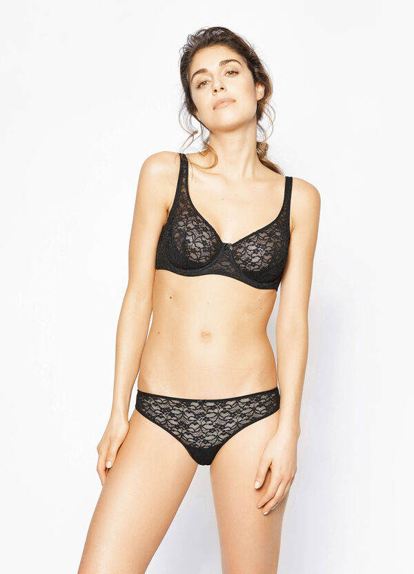 Brazilian-cut briefs with lace and bow | OVS