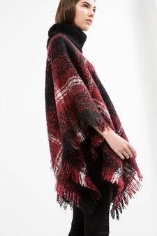 Tartan pattern knitted poncho, Dark Red, hi-res