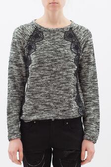 Cotton blend mélange sweatshirt., Grey, hi-res
