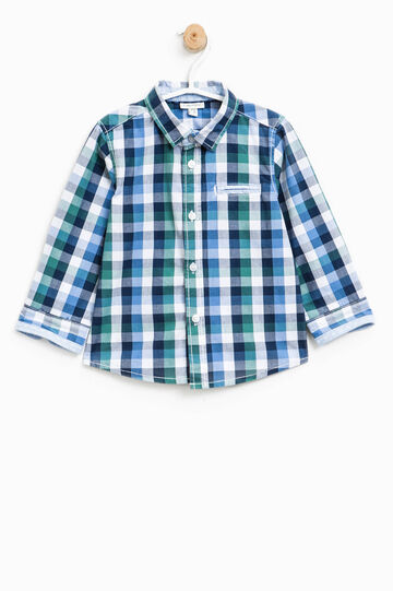 Check shirt in 100% cotton, Green/Blue, hi-res
