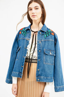 Denim jacket with patches and pockets, Denim, hi-res