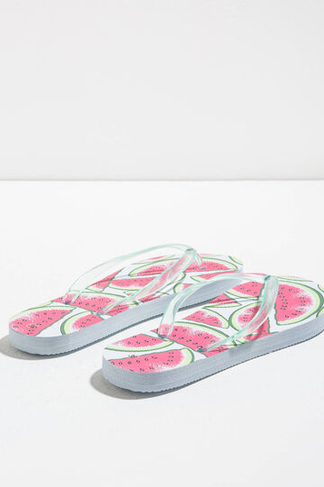 Rubber flip flops with fruit pattern