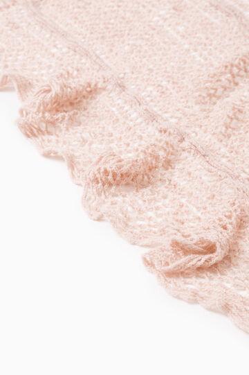 Openwork scarf with fringe, Light Pink, hi-res