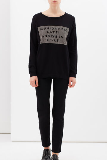 Cotton blend pullover with studs, Black, hi-res