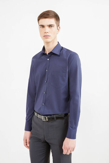 Slim-fit, formal shirt with bluff collar, Dark Blue, hi-res