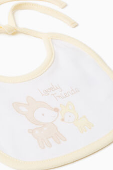 Two-pack bibs with animal print, Yellow, hi-res